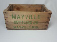 Vintage Wooden Soda Crate Mayville Bottling Co. Wisconsin
