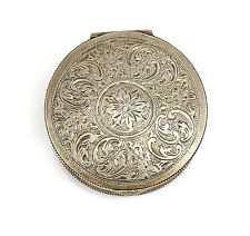 German .900 Silver Compact c1950 Gilt interior w/ Mirror Hand Chased Foliate 41g