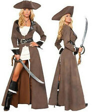 Pirate Costume Halloween Ladies Fancy Deluxe Dress Hat Cosplay Outfit M
