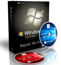 Windows 7 Ultimate Fix Reinstall Recovery Boot CD DVD Disc + Driver DVD 32 Bit