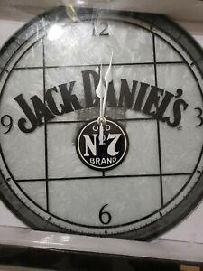 NEW - Jack Daniels 12'' Art-Glass Wall Clock Gray Black White NOS
