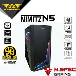 Armaggeddon Nimitz N5 Black RGB Strip Tempered Glass Micro-ATX Case NO RGB FAN