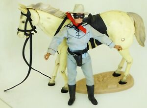GABRIEL LONE RANGER  ACTION FIGURE WITH HIS SILVER HORSE & STAND