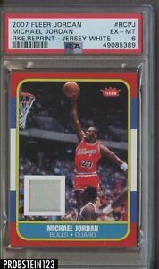 2007-08 Fleer Michael Jordan Bulls RC Rookie Retro Reprint GU Jersey PSA 6