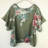 Anthropologie XS Blouse Green One Fine Day Women's Size X-Small Multicolor Sheer