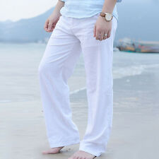 Latest Men's Linen Loose Pants Beach Drawstring Yoga Casual Long Slacks Trousers
