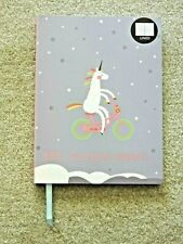 Soft Cover 6x8 Journal 96 Lined Blank Pgs Unicorn Bicycle BRB Going To Dream NEW