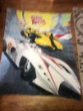 "Speed racer Cars Yellow White Blanket Fleece Throw 55""x70"" toddler Nap"