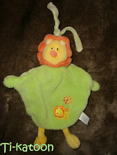 JEMINI BABY DOUDOU PLAT LION  vert jaune orange grelot - TBE