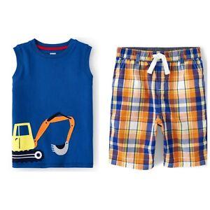 Gymboree Boys 2021 Mr. Fix It Tank Top Shirt Plaid Shorts Outfit Nwt Size 7