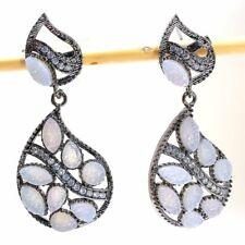 "Titanium Druzy, White Topaz Gemstone Silver Fashion Jewelry Earring 1.9"" SE8655"