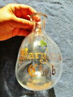 MARYLAND CLUB WHISKEY Antique Liquor Gold Etched Backbar Pinched DECANTER c.1890
