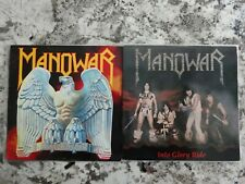 MANOWAR 2 LP lot. Battle Hymns Into Glory Ride. First issues