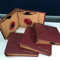 LOT of 4 Red Binder Record Album Books Holds 12 45 rpm Records Includes 25 Discs