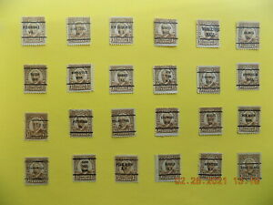U S Coll'n of (24) all Diff't cities PRECANCEL DEF.-2-H2-1 1/2 cent Harding