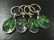 12pcs  green four leaf clover clear bead stainless steel key-chains hs002