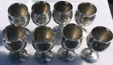 8 X. Vintage Banka Tin Efte Wine Goblets Brandy Goblets Hand Made Indonesia Rare