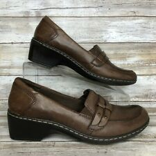 """Cobb Hill Womens 7.5M Brown Leather Dress Loafers Moc Toe Lightweight 2"""" Heel"""