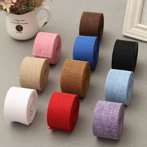 5cm*10m Natural Jute Burlap Ribbon Fabric Roll Hessian Trims Tape Rustic DIY`sf