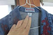 Womens Wanted Denim Jacket With Embroidery Buttojns and Stones