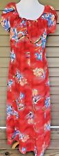 VTG Hilo Hattie Maxi Dress SZ L Hawaiian Full Length MuuMuu Floral Coral Large