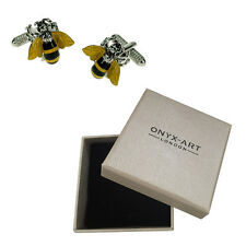 Mens Executive Cufflinks Bumble Bee by Onyx Art