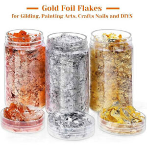3 Gilding Metallic Flakes Leaf Foil Paper+Box for Painting Resin Jewelry Nails