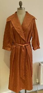 1950s Vintage Burnt Orange Prova Satin Quilted Dressing Gown, Housecoat, Size WX