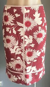 PRINTSTAR Red & Pale Pink Floral Print Stretch Straight Skirt Size US8 / AU10