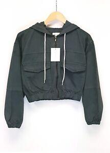 Women's Girls Denim Hooded Bomber Jacket Grey 6 8 10 12 14 16