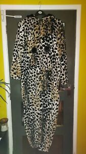 Ladies Stunning Animal Print Soft Fleece Hooded All in One Pyjamas Size 18-20