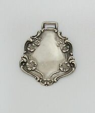 Vintage Sterling Silver Repousse Luggage Tag Fob Webster