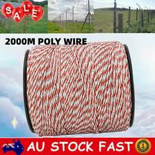 Polywire 2000m Roll Electric Fence Energiser Stainless Steel Poly Wire Insulator