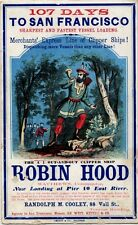 "Robin Hood Clipper Ship New York To San Francisco 1855 7x4"" Sailing Card Reprint"