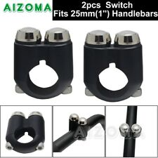 """2X Motorcycle 1"""" 25mm Aluminum Handlebar 2 Button Hand Control Switches ON/OFF"""