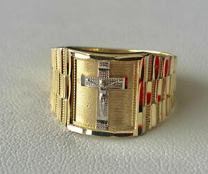 Men's 14k 2 Tone Solid Gold Big Bold Jesus Crucifix Cross Religious Ring