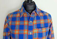 Hollister Mens Blue Cotton Flannel Multi-Coloured Plaid Check Shirt Medium