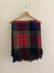 Onkaparinga Wool Check Tartan Red Green Thick Travel Picnic Blanket