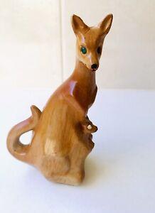 Vintage Australian kangaroo And Joey figurine - Diamanté Eyes - 1950's