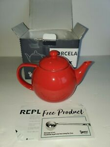 SWEESE RED PORCELAIN TEAPOT WITH MESH STRAINER 28 OUNCES NEW IN OPEN BOX