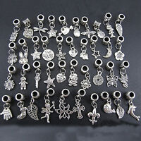 40pcs Lots Wholesale Tibetan Silver Charm Beads Fit European Chain Bracelet SP