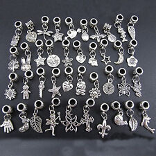 40X Lots Wholesale Tibetan Silver Charm Beads Fit European Chain Bracelet Chic-