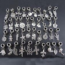 40X Lot Wholesale Tibetan Silver Charm Beads Fit European Chain Bracelet Pendant