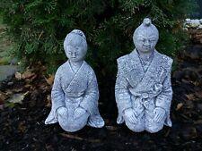 Steinfigur 2-er Set Samurai und Geisha Japan Buddha massiv Steinguss Frostfest