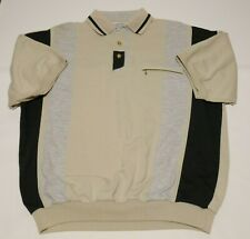 VINTAGE LD Sport International Striped Short Sleeve Button Bowling Shirt Size XL