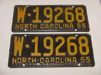 1955 North Carolina NC License Plates Tags Matching Pair Yellow Black W-19268