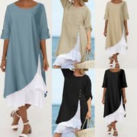 UK Women Long Sleeve Midi Dress Casual Loose Round Neck Cotton Dresses Size 8-26