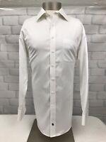 Hart Schaffner Marx Men's White Dress Shirt 100% Cotton Long Sleeve Size 17/34