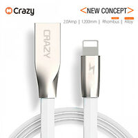 2 X Crazy USB Cable Charger cord for Apple iPhone 8 7 6 S 5 Plus X Diamond White