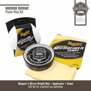 Kit Meguiar's Mirror Bright Paste Wax con Applicatori e Panno in Microfibra